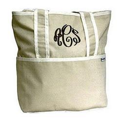 Personalized Ecru Tote Diaper Bag