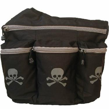Diaper Dude Messenger Diaper Bag in Black - Skull and Cross Bones