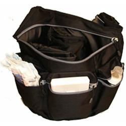 Diaper Dude Messenger Diaper Bag in Grey - Skull and Cross Bones