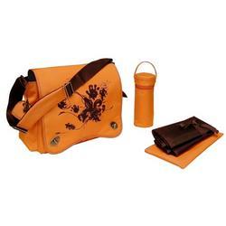 Sam's Messenger Diaper Bag in Orange Screened