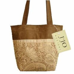 Camel and Chocolate Paisley Microsuede Handbag/Tote Bag
