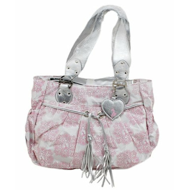 Baby Phat Insignia Print Diaper Tote - white/pink, one size