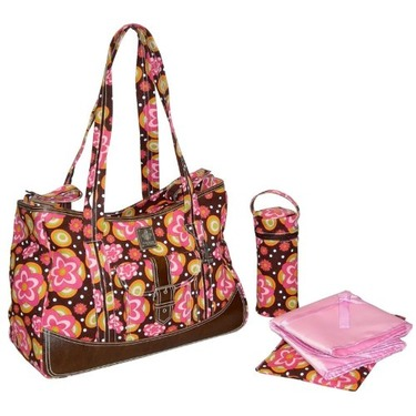 Weekender Diaper Bag in Flower Power Pink