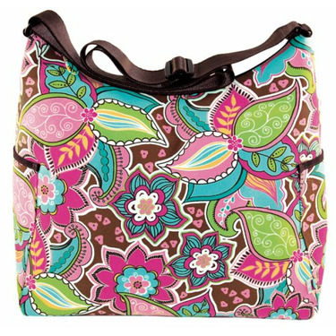OiOi Pink Floral Bouquet Hobo Diaper Bag with Water Resistant Finish