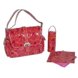Paisley Orange Laminated Buckle Diaper Bag
