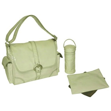 Cream Corduroy Laminated Buckle Diaper Bag