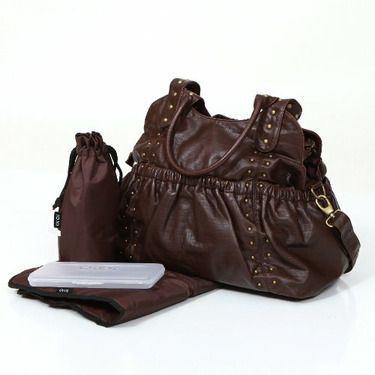 Chocolate Studded Diaper Tote