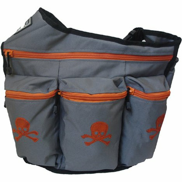 Diaper Dude Grey w/ Orange Skull and Bones with FREE Stroller Strap