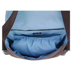 OiOi Messenger Diaper Bag - Chocolate Brown with Blue Interior 5505