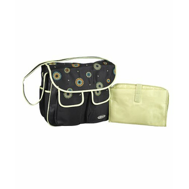 """Graco """"Embroidered Floral"""" Diaper Tote - black/sage, one size"""