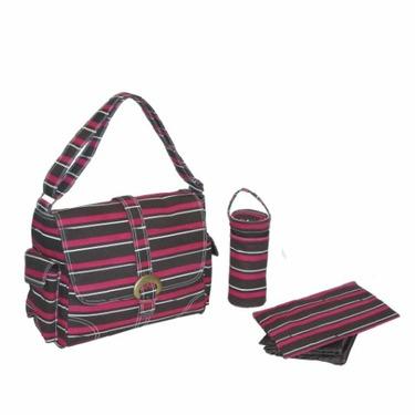 Canvas Buckle Bag - Canvas Canal Street Stripes - Burgundy