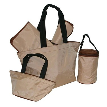 Cream Chocolate Diaper Tote - Five Piece Set
