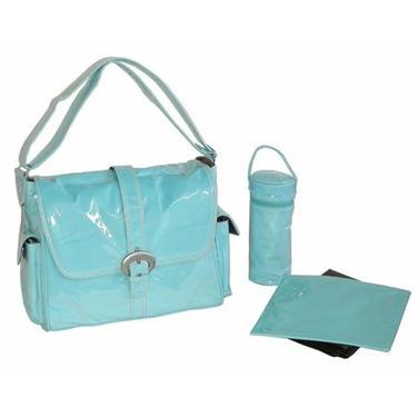 Baby Blue Corduroy Laminated Buckle Diaper Bag