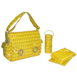 A Step Above Double Buckle Diaper Bag in Harlequin Yellow
