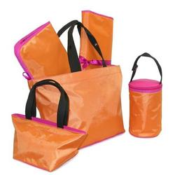 Orange Berry Diaper Tote - Five Piece Set
