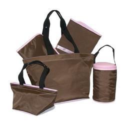 Kalencom - 5 Pc. Tote Set - Chocolate/Light Pink