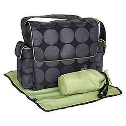 Black Messenger Diaper Bag with Grey Dot and Lime Trim and Interior