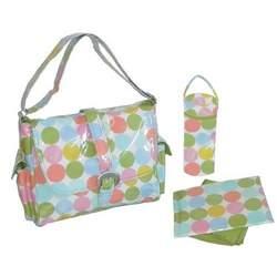 Disco Dots Cream Laminated Buckle Diaper Bag
