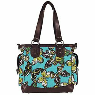 Lexie Tote Diaper Bag in Teal Butterfly