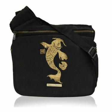 Diaper Dude Black Faux Suede Koi Messenger Diaper Bag