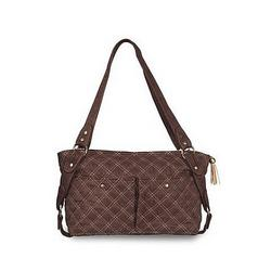 Baby Kaed Avi-u Diaper Bags in Faux Suede with Contrasting Cross Stitch (Chocolate)