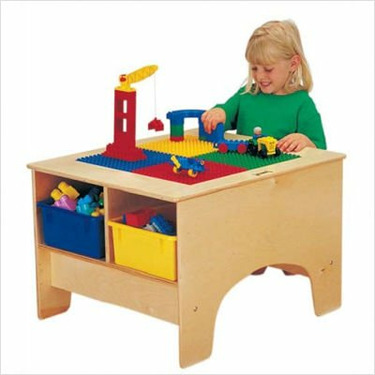 KYDZ Building Table - Duplo Compatible with Tubs Tub Color: Colored