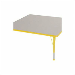"48 "" x 48"" Square Color Banded Adjustable Height Activity Table Frame Color: Yellow, Leg Height: 23"""