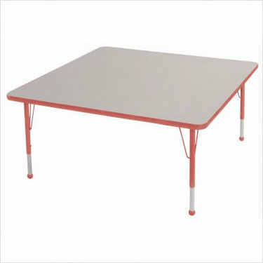 """48 """" x 48"""" Square Color Banded Adjustable Height Activity Table Frame Color: Black, Leg Height: 23"""""""