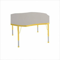 "48"" Clover Color Banded Adjustable Height Activity Table Frame Color: Yellow, Leg Height: 23"""