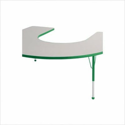 "60"" x 66"" Horseshoe Color Banded Adjustable Height Activity Table Frame Color: Green, Leg Height: 30"""