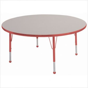 """48"""" Round Color Banded Adjustable Height Activity Table Frame Color: Red, Leg Height: 23"""""""