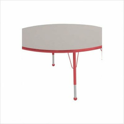 "48"" Round Color Banded Adjustable Height Activity Table Frame Color: Red, Leg Height: 23"""