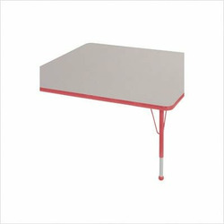 """48 """" x 48"""" Square Color Banded Adjustable Height Activity Table Frame Color: Red, Leg Height: 23"""""""