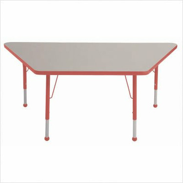 "30"" x 60"" Trapezoid Color Banded Adjustable Height Activity Table Frame Color: Red, Leg Height: 30"""