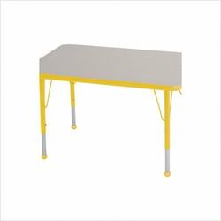 "Rectangular Color Banded Adjustable Height Activity Table Table Size: 30"" W x 72"" D, Frame Color: Yellow, Leg Height: 23"""