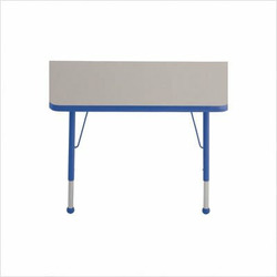"""30"""" x 60"""" Trapezoid Color Banded Adjustable Height Activity Table Frame Color: Blue, Leg Height: 23"""""""
