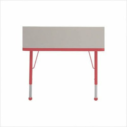"30"" x 60"" Trapezoid Color Banded Adjustable Height Activity Table Frame Color: Red, Leg Height: 23"""