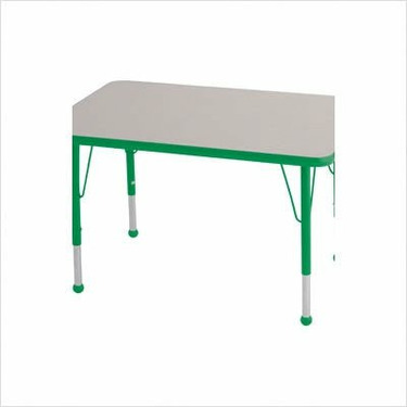 """Rectangular Color Banded Adjustable Height Activity Table Table Size: 24"""" W x 36"""" D, Frame Color: Green, Leg Height: 23"""""""