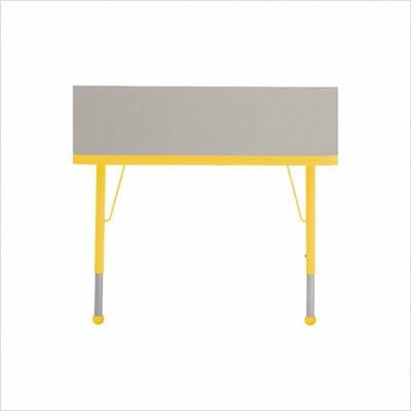 """30"""" x 60"""" Trapezoid Color Banded Adjustable Height Activity Table Frame Color: Yellow, Leg Height: 23"""""""