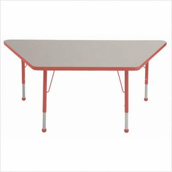 "30"" x 60"" Trapezoid Color Banded Adjustable Height Activity Table Frame Color: Yellow, Leg Height: 23"""