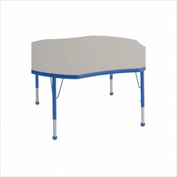 "48"" Clover Color Banded Adjustable Height Activity Table Frame Color: Blue, Leg Height: 23"""
