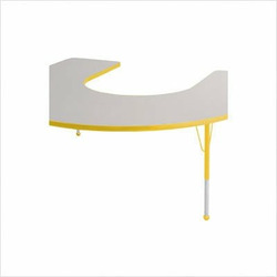 "60"" x 66"" Horseshoe Color Banded Adjustable Height Activity Table Frame Color: Yellow, Leg Height: 23"""