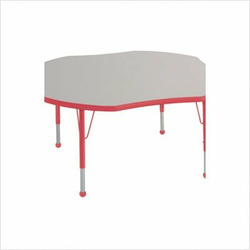 "48"" Clover Color Banded Adjustable Height Activity Table Frame Color: Red, Leg Height: 23"""