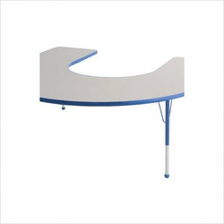 "60"" x 66"" Horseshoe Color Banded Adjustable Height Activity Table Frame Color: Blue, Leg Height: 30"""