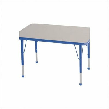 """Rectangular Color Banded Adjustable Height Activity Table Table Size: 30"""" W x 72"""" D, Frame Color: Blue, Leg Height: 23"""""""