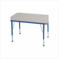 "Rectangular Color Banded Adjustable Height Activity Table Table Size: 30"" W x 72"" D, Frame Color: Blue, Leg Height: 23"""