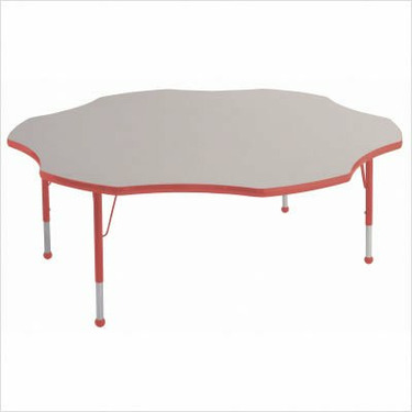 """60"""" Flower Color Banded Adjustable Height Activity Table Frame Color: Red, Leg Height: 30"""""""