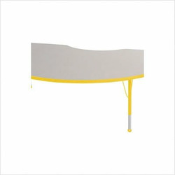 "48"" x 72"" Kidney Color Banded Adjustable Height Activity Table Frame Color: Yellow, Leg Height: 23"""