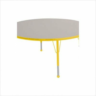 """48"""" Round Color Banded Adjustable Height Activity Table Frame Color: Yellow, Leg Height: 23"""""""