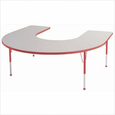 """60"""" x 66"""" Horseshoe Color Banded Adjustable Height Activity Table Frame Color: Black, Leg Height: 23"""""""